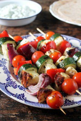 Halloumi Souvlaki with Tzatziki   Veggie Desserts Blog