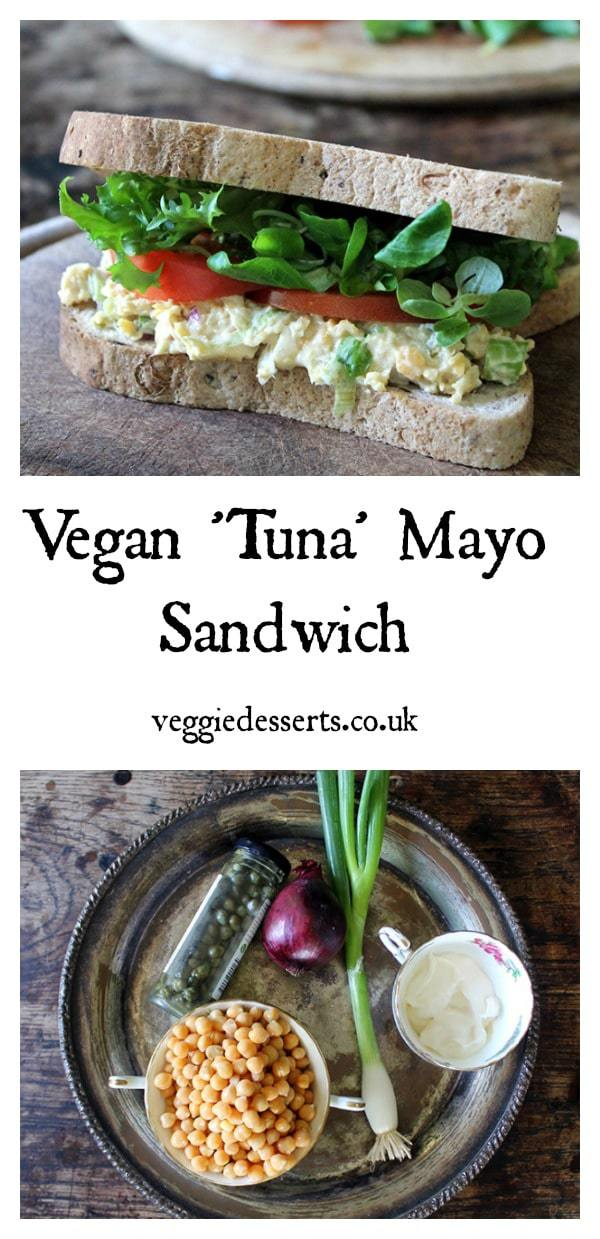 This tasty vegan 'tuna' salad sandwich uses mashed chickpeas (garbanzo beans) as a fantastic base for flavourings and give the sandwich a filling density.  Capers, red onions, and optional toasted crumbled nori seaweed all give it a great taste. #vegan #veganrecipe #vegantuna #vegansandwich #veganlunch #chickpeatuna