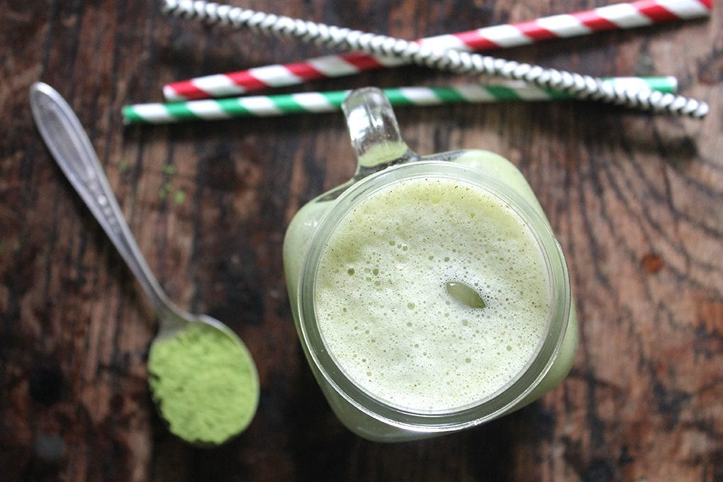Overhead shot of a glass of creamy Matcha Horchata.