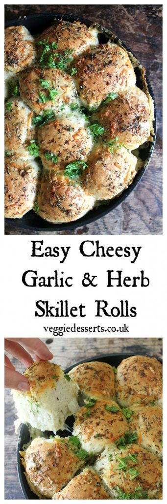 Easy Cheesy Garlic and Herb Skillet Rolls | Veggie Desserts Blog