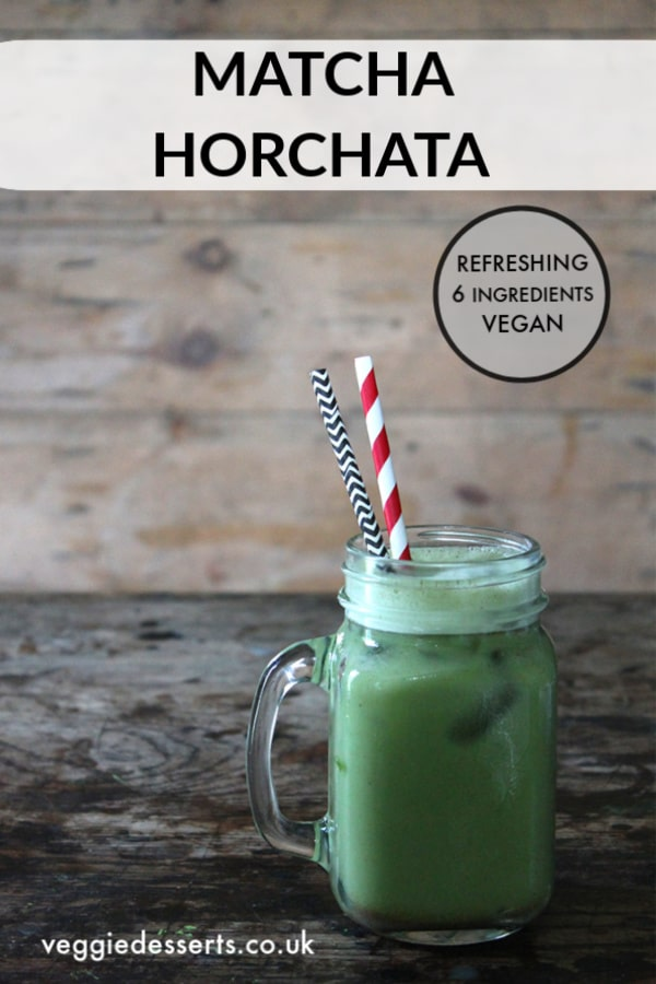 This matcha horchata is a refreshing, creamy, sweet vegan drink with a big, punchy flavour from the cinnamon and matcha green tea. A twist on the classic Latin American drink.#horchata #matcha #matchatea #cincodemayo