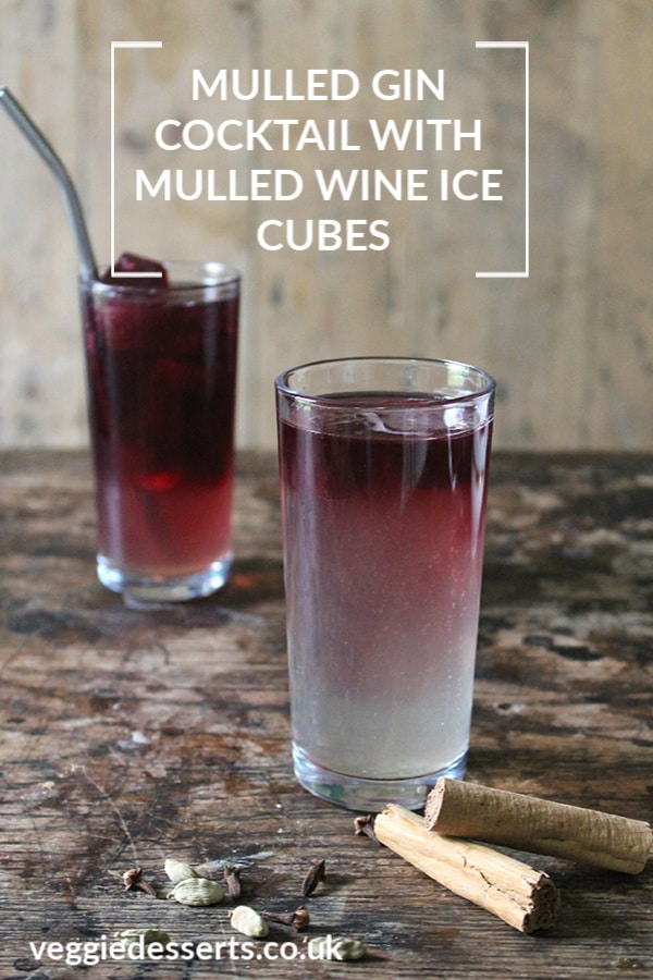 This mulled gin cocktail is full of warming spices, in a cold cocktail. It's easy to make with a spice-infused simple syrup, plus I've made mulled wine ice cubes to give it some extra pizazz. #christmascocktail #gincocktail #mulledwine #simplesyrup