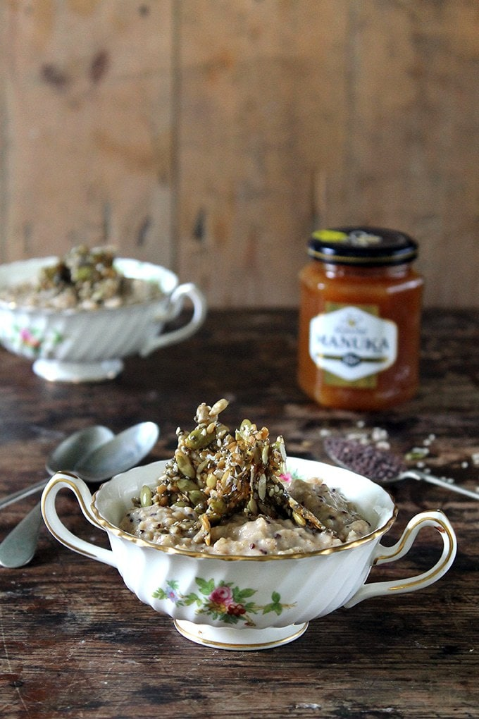 Maca Oatmeal with Honey Seed Shards | Veggie Desserts Blog