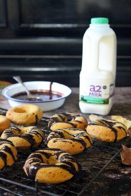 Baked Pumpkin Donuts with Chocolate Glaze | Veggie Desserts Blog