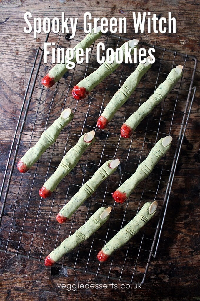 Scare your little trick or treaters with these naturally green wicked witch finger cookies! They're spooky, gruesome and perfect for a Halloween party! #halloween #halloweenparty #halloweenpartyfood #witchfingers