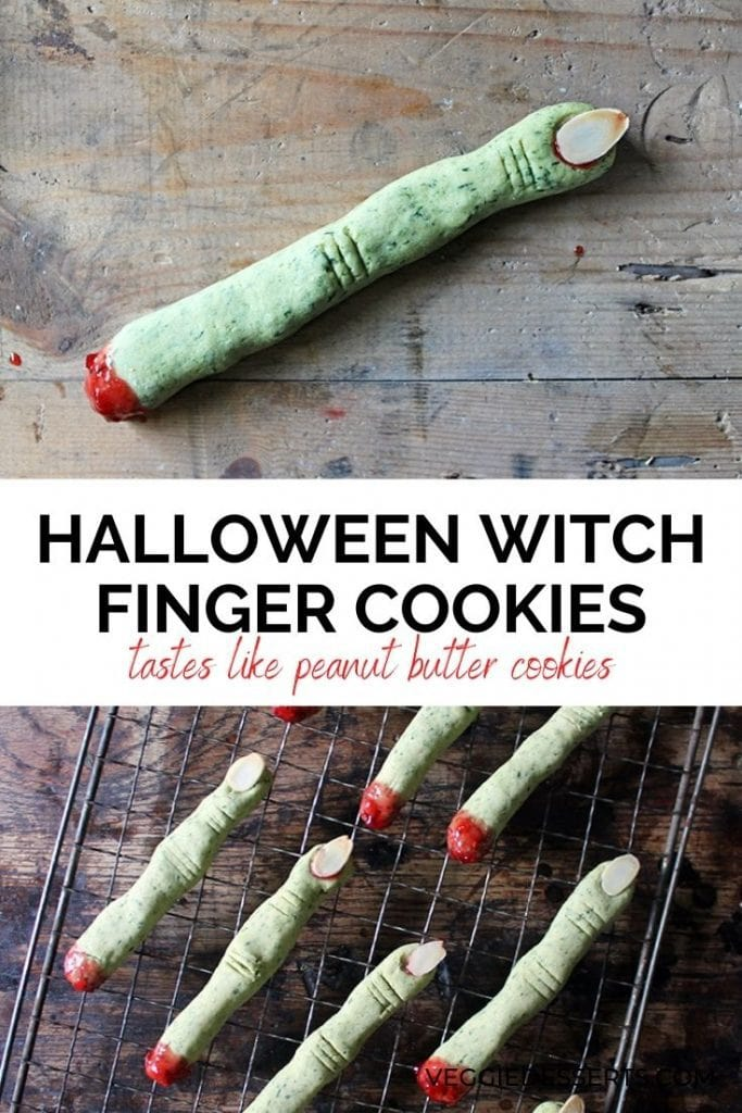Green cookies shaped like fingers. Text overlay reads Halloween Witch Finger Cookies.