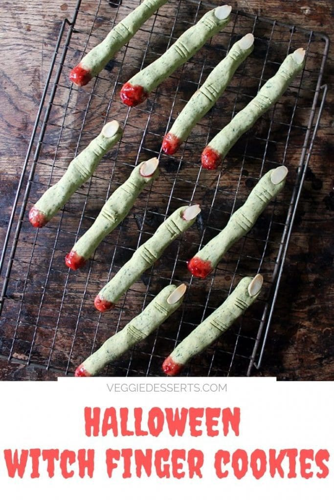 Cookies shaped like fingers with text overlay that reads: Halloween Witch Finger Cookies.