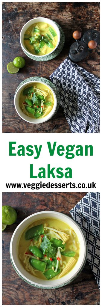 Bowls of soup, with text that reads: Easy Vegan Laksa.