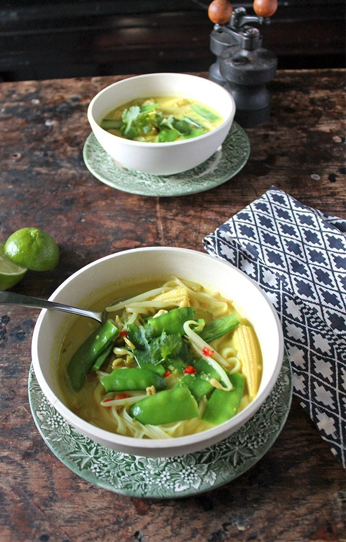 15 minute vegan laksa soup. This take on the classic Malaysian dish is quick and easy to make. Coconut milk, turmeric, and chilli combine with veggies and a squeeze of lime to make a nourishing and warming bowl of laksa soup.