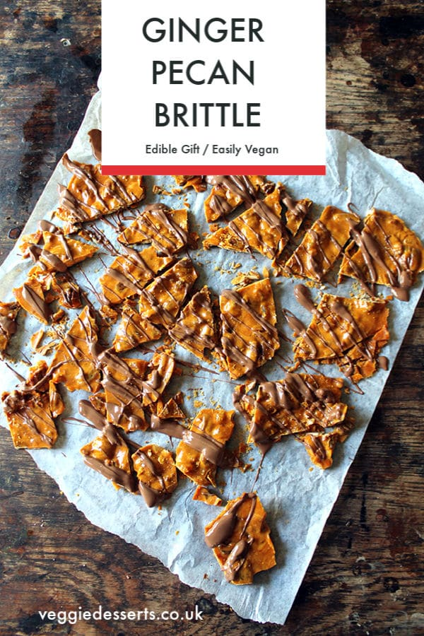 This ginger and pecan brittle with chocolate drizzle is simple to make and is a perfect edible Christmas gift or at any time of year. Try this easy brittle recipe! #ediblegift #candy #candyrecipe #christmasrecipe #brittle #brittlerecipe #peanutbrittle