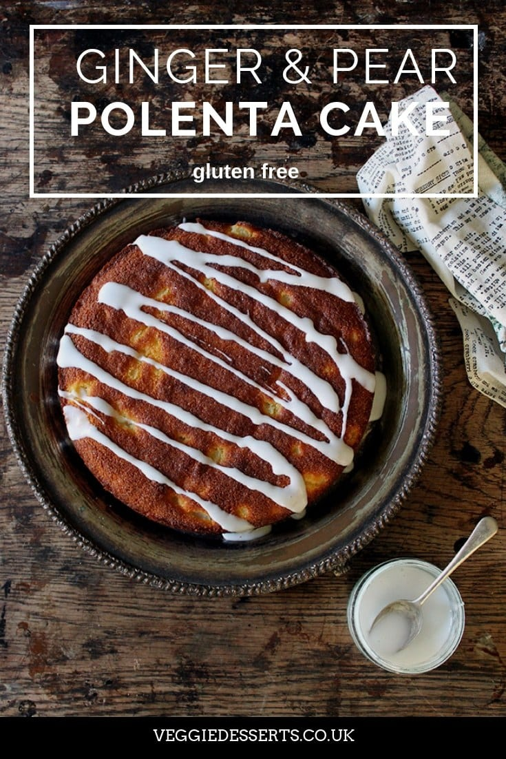This one-bowl gluten-free ginger and pear polenta cake is really easy to make and bursting with flavour. The sweet chunks of pear balance nicely with the cornmeal crumb, crystallized ginger and pear drizzle. #polentacake #cornmealcake #glutenfreecake