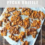 pinnable image for ginger Pecan Brittle recipe