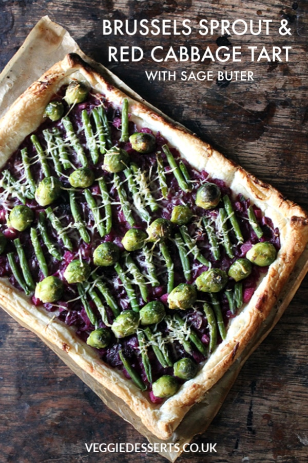 This red cabbage and brussels sprout tart brings together Christmas foods in an unusual way! I've taken Christmas dinner side dishes and made them the star of the show in this vibrant puff pastry tart.