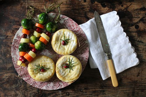 Mini Baked Camemberts with Rosemary Vegetable Skewers   Veggie Desserts Blog