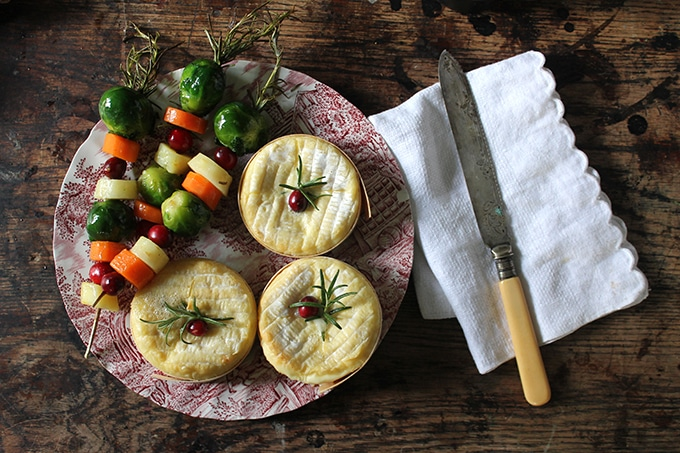 Mini Baked Camemberts with Rosemary Vegetable Skewers | Veggie Desserts Blog