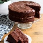 The BEST Vegan Chocolate Cake recipe. A slice of vegan cake in front of the vegan layer cake on a cake stand.