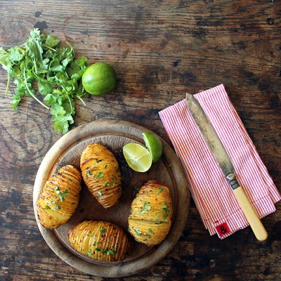 Hassleback Potatoes with Chilli, Coriander and Lime Butter | Veggie Desserts Blog