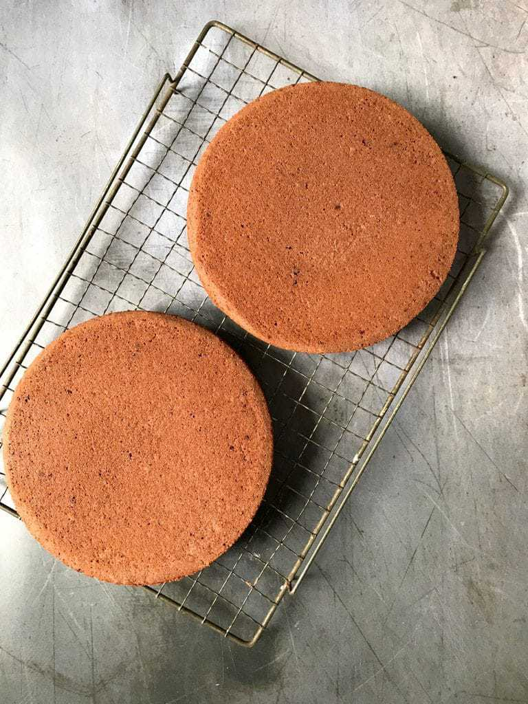 How to make vegan chocolate cake - step 5 - pour into the prepared pans and bake