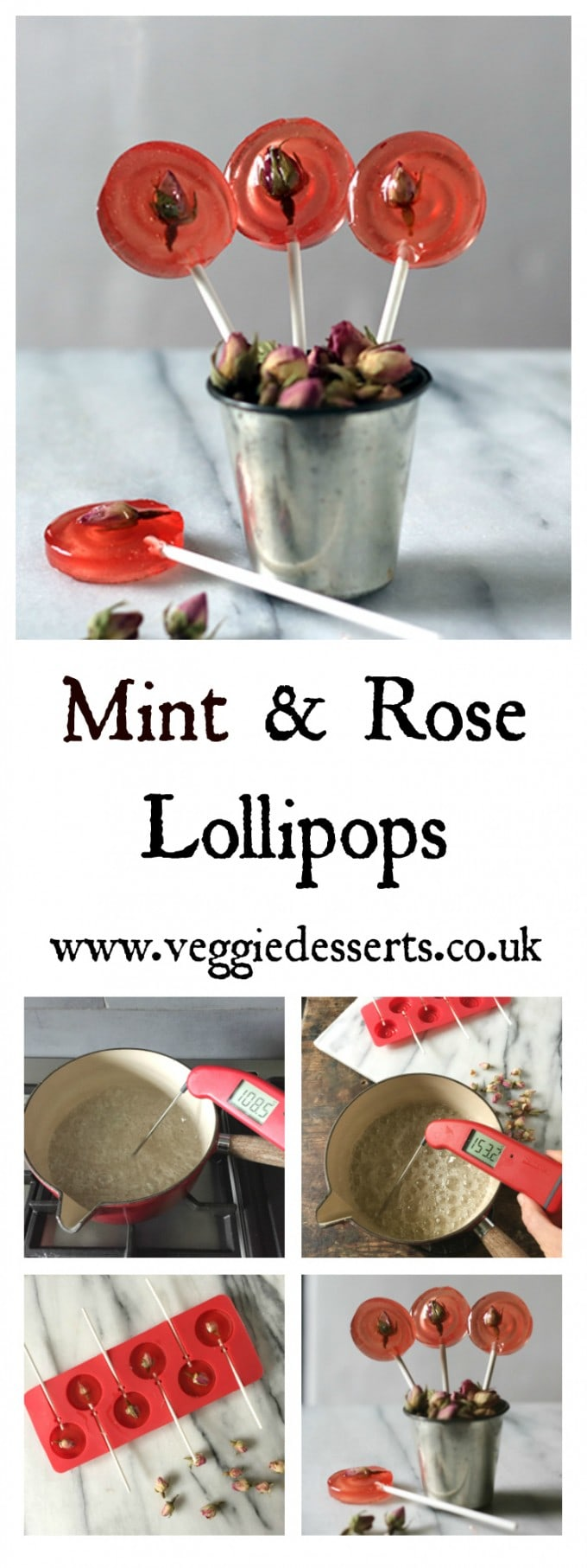 These mint and rose lollipops are surprisingly easy to make, with just a few ingredients. They're a wonderful DIY food gift or Valentine's present. #mothersday #valentinesday #ediblegift #lollipops #lollipoprecipe #easter