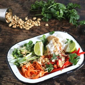 Enamel dish full of noodles and vegetables.