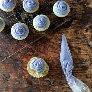 White Chocolate and Purple Potato Cupcakes with Purple Potato Frosting | Veggie Desserts Blog
