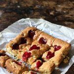 Pistachio Blondies with Raspberry Swirl Hearts