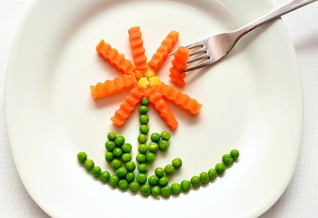 A plate of food with vegetables in the shape of a flower.