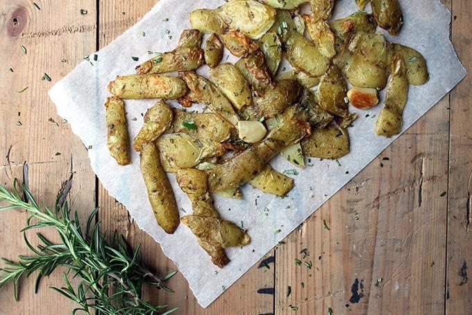Roasted Potato Peelings with Rosemary and Sea Salt | Reduce Food Waste | Vegan, Gluten-Free | Veggie Desserts Blog