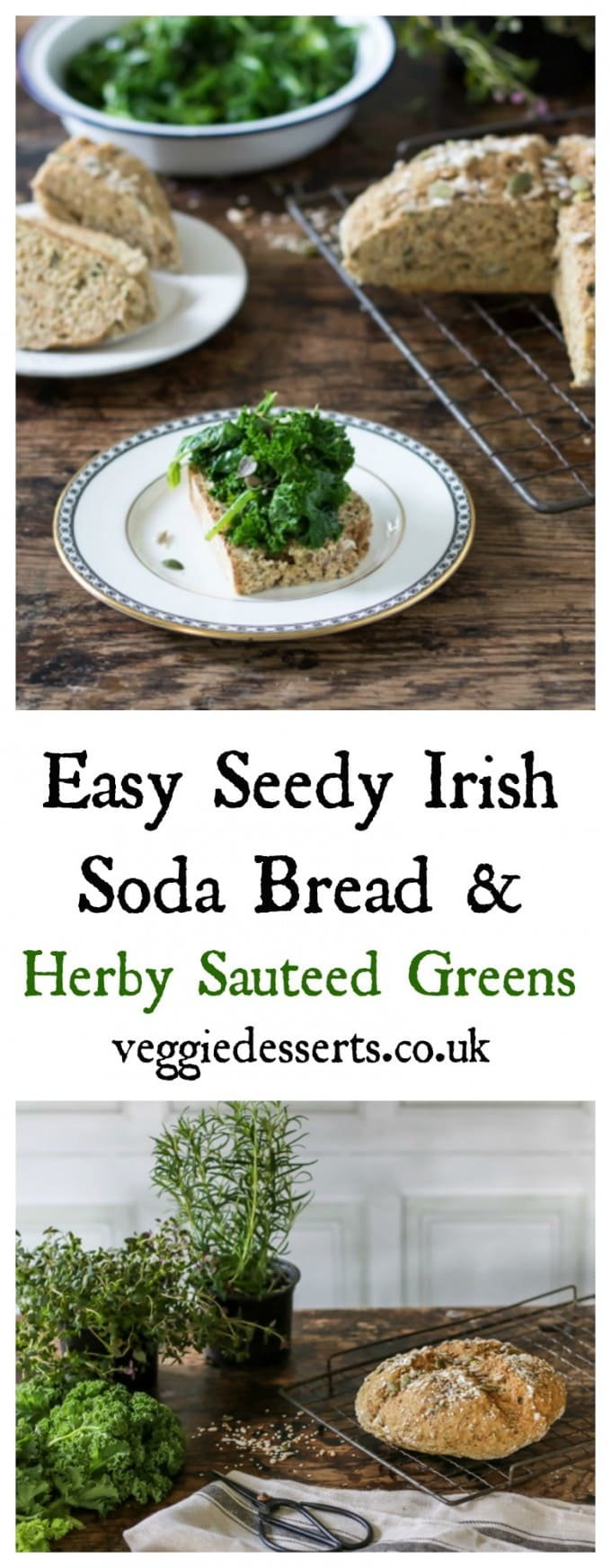 Have fresh bread on the table in less than 40 minutes! This quick and easy Irish soda bread is extra healthy with seeds. I've topped it with herby greens to make it a lovely snack, lunch or side dish. #stpatricksday #irishrecipe #sodabread #irishsodabread #quickbread