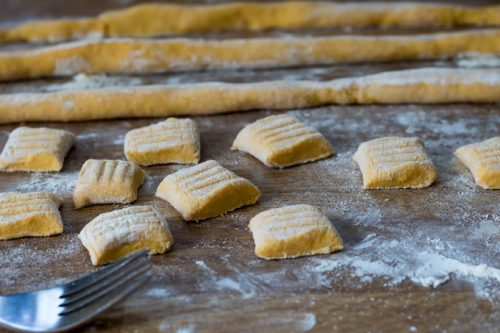 Making sweet potato gnocchi.