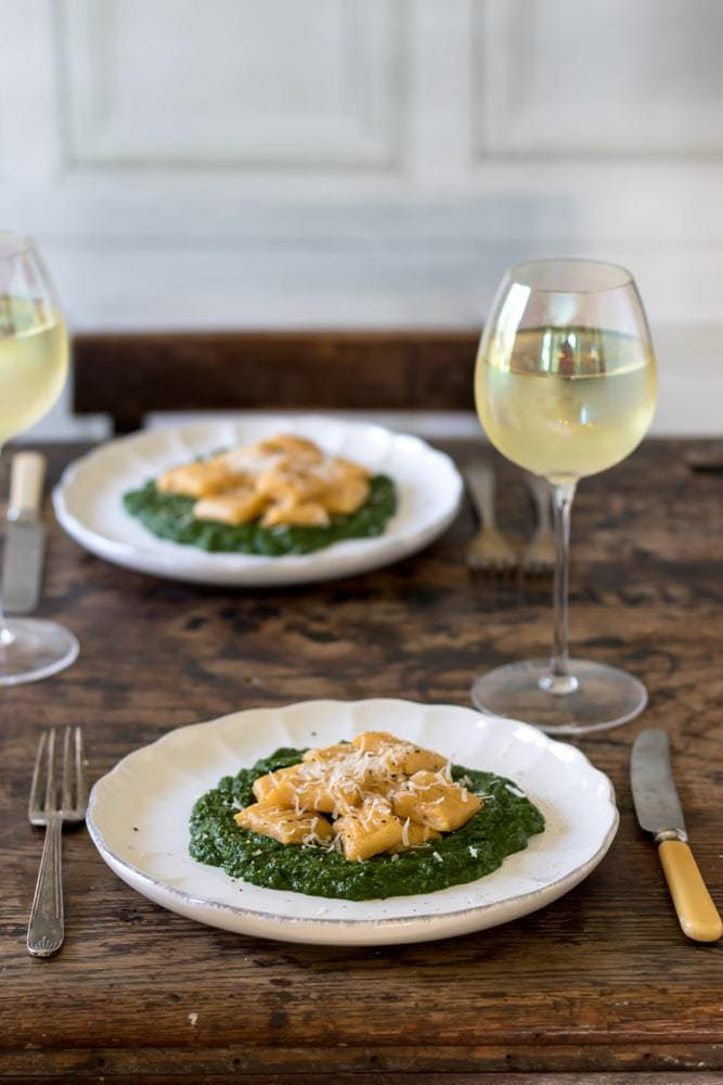 Easy Sweet Potato Gnocchi with Creamy Spinach Sauce