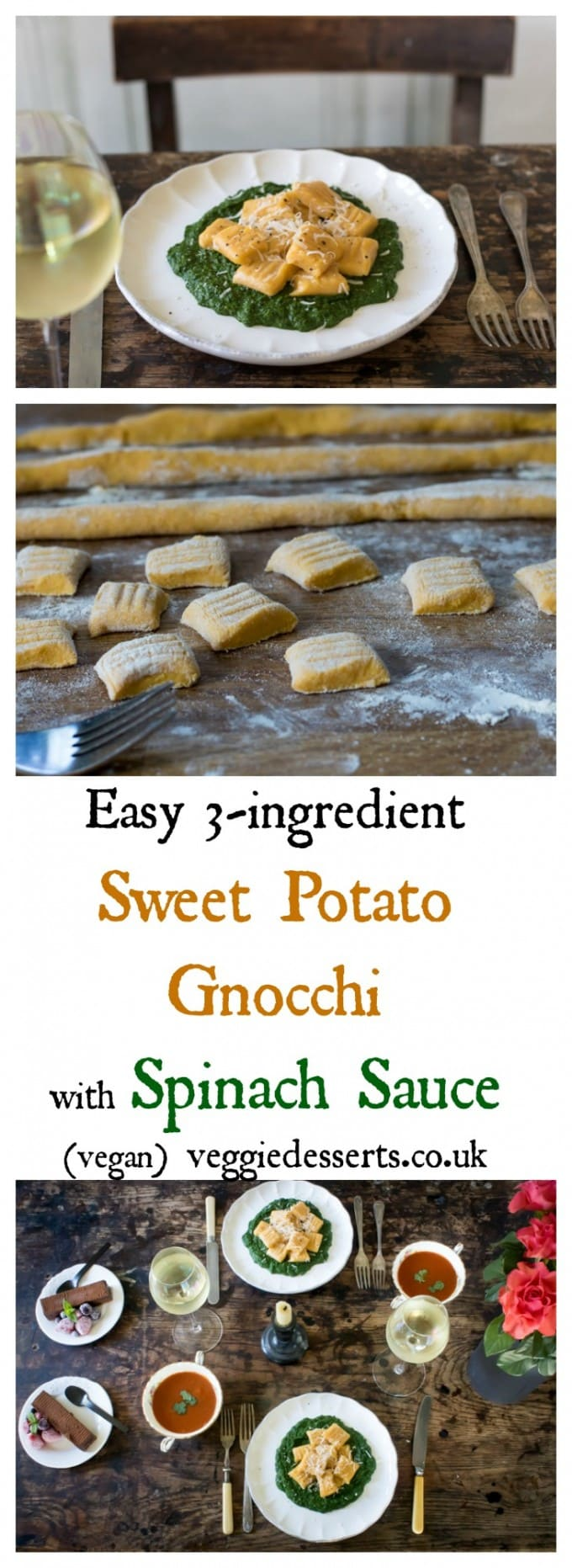 Sweet potato gnocchi is so easy and delicious! It only needs three ingredients and takes about 20 minutes to make. Here, I've paired it with a quick creamy spinach sauce that's rich and moreish. I've used mostly frozen ingredients, so this is a convenient meal to put together quickly, though you can use fresh as well. #gnocchi #sweetpotatognocchi #italianrecipe #sweetpotato