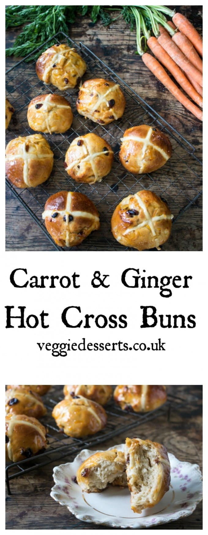 These fluffy and tasty carrot and ginger hot cross buns are a different take on the classic Easter treat. They need a little while to knead and rise, but the result are definitely worth it! #easter #easterrecipe #hotcrossbuns #hotcross #bread