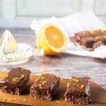 Vegan Chocolate Orange Bars on a wooden tray