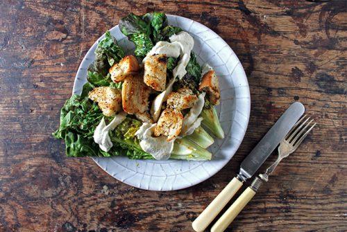 Vegan Caesar Salad with Grilled Lettuce and Herby Croutons | Veggie Desserts Blog