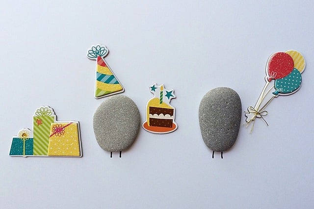 Stones and illustrations of birthday.