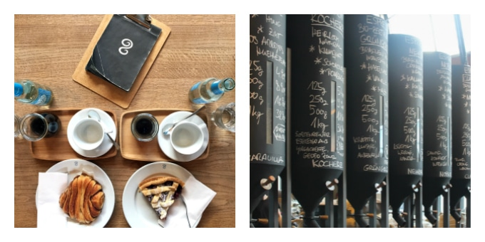 Collage of cafe pictures.