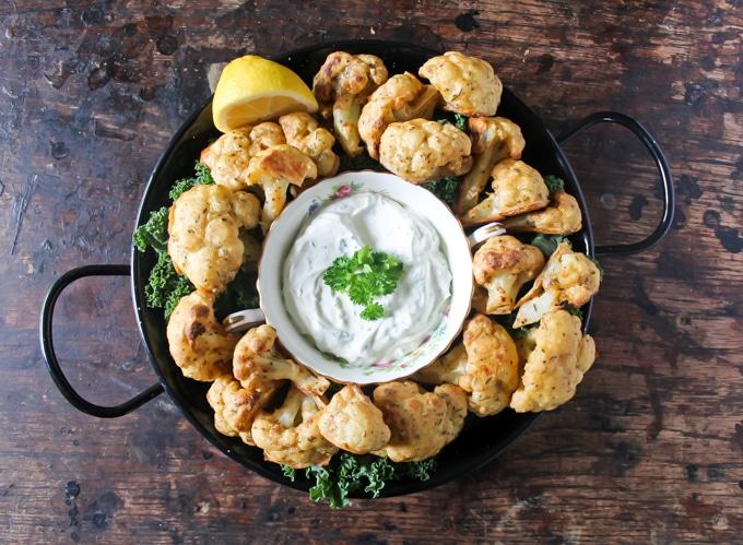Cauliflower Wings with Herb and Garlic Dip   Veggie Desserts