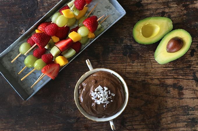 Chocolate avocado dip and fruit skewers.