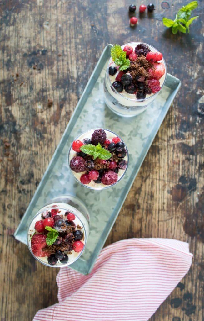 A tray with three parfaits.