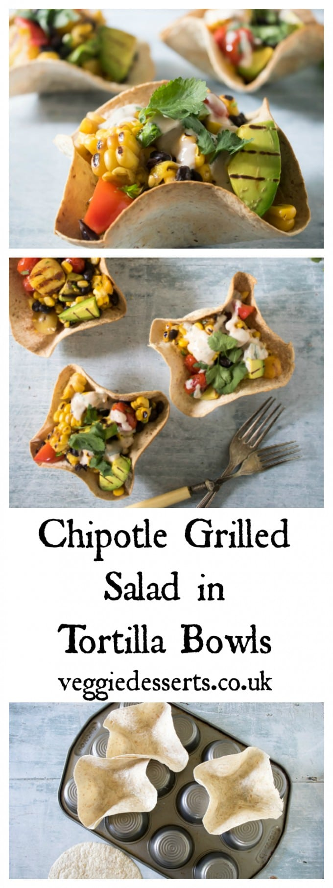 Fun, tasty and easy tortilla bowls filled with Mexican chipotle grilled salad and black beans. #tortillabowls #salad #mexicanrecipe #chipotlerecipe #grilledsalad #barbecuefood