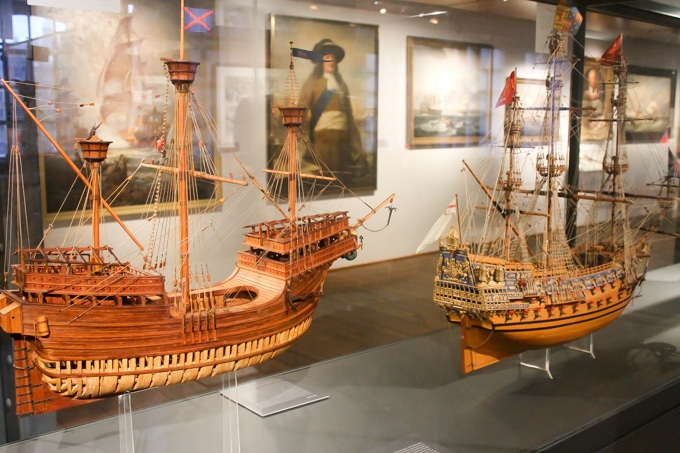Model ships in a museum.