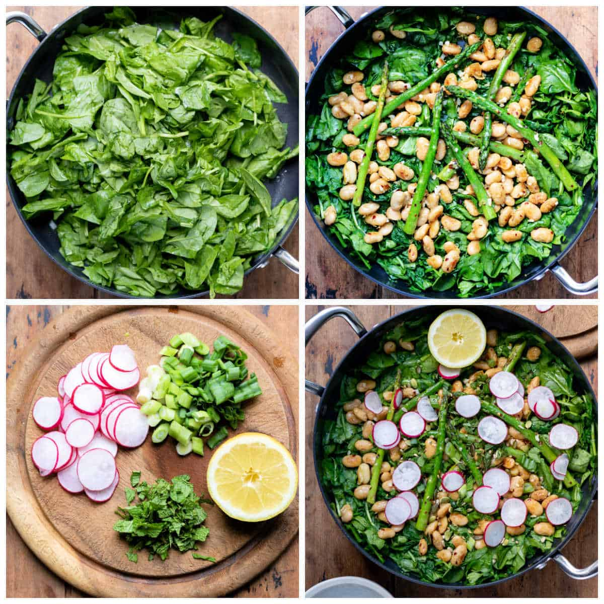 Collage of making salad pictures.