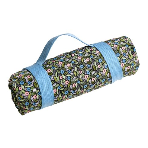 A rolled picnic blanket.