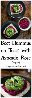 Beetroot Hummus on Toast with Avocado Rose and Seeds (Brunch, Vegan)   Veggie Desserts Blog