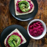 Beetroot Hummus on Toast with Avocado