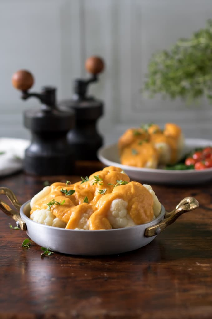 Cauliflower with Roasted Butternut  Sauce
