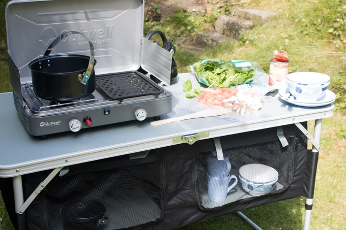 Cooking while camping.