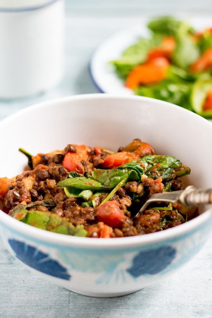 Bowl of lentil vegetable stew.