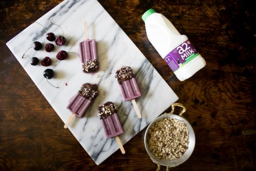 Cherry Popsicles / Ice Lollies with Dark Chocolate and Crushed Almonds   Veggie Desserts Blog